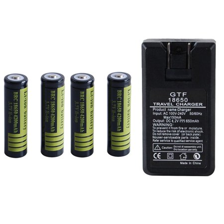 1 Pcs 3.7 V 18650 4200 mAh Li-ion Rechargeable Battery for Flashlight Torch Black Black 4 Pcs and