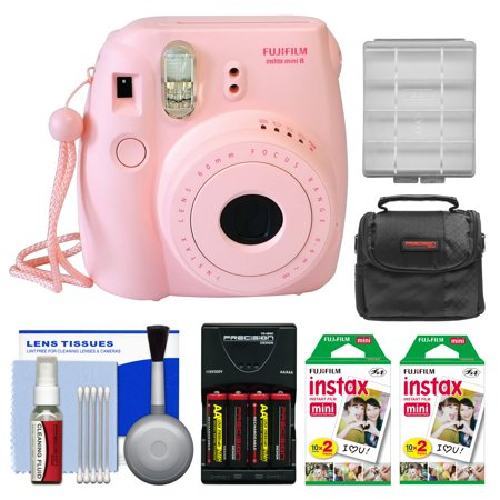 Fujifilm Instax Mini 8 Instant Film Camera (Pink) with 40 Instant Film + Case + Batteries & Charger Kit