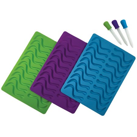 Better Kitchen Products, 3 Pack, 20 Cavity (60 total) Silicone Gummy Worm Molds with 3 Matching Droppers, Purple, Aqua & Lime (Worm Mold)