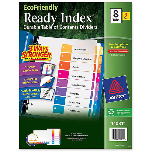 Avery ready index table of contents iders walmart com