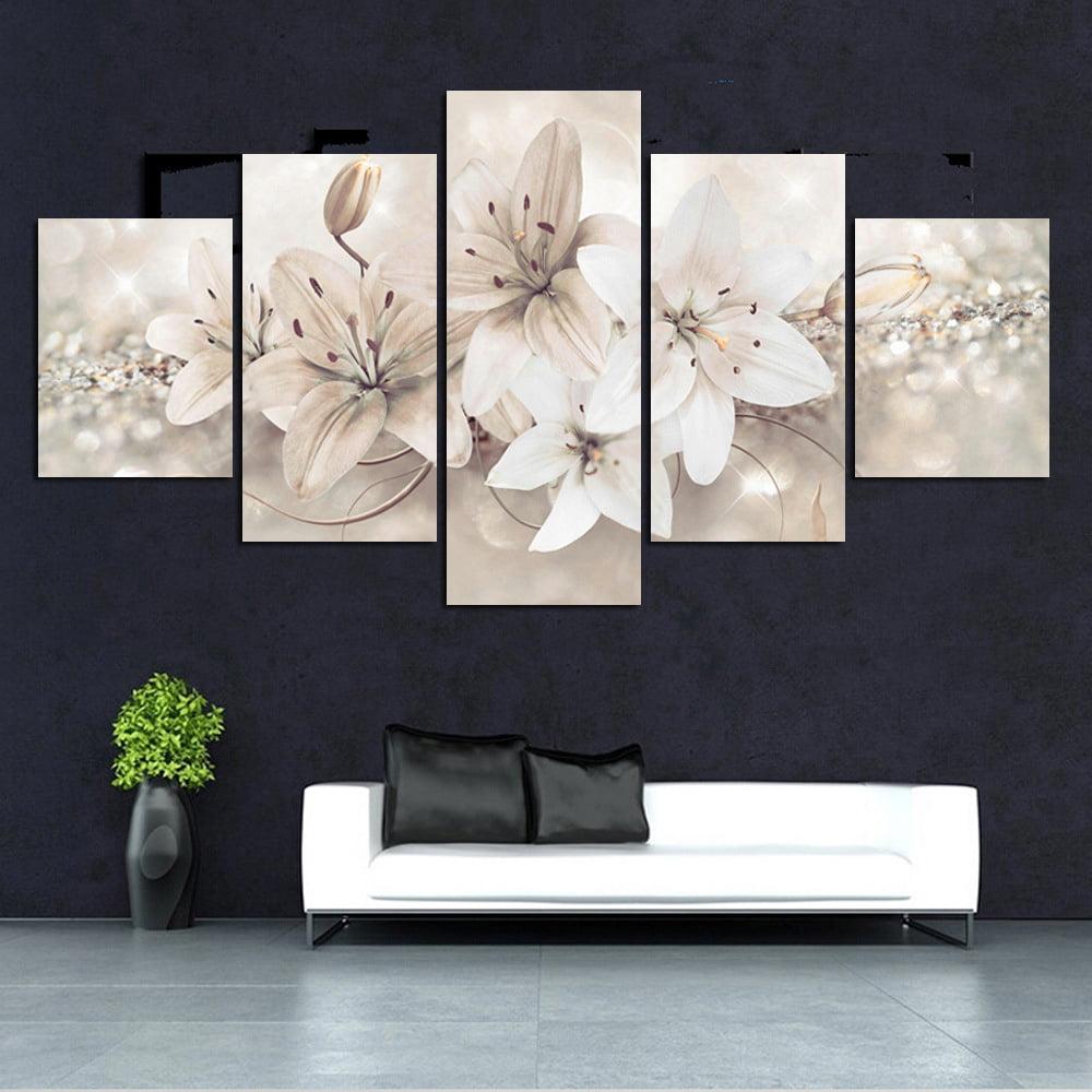 5Pcs//set Modern Flower Canvas Painting Wall Art Home Decor Picture Decoration