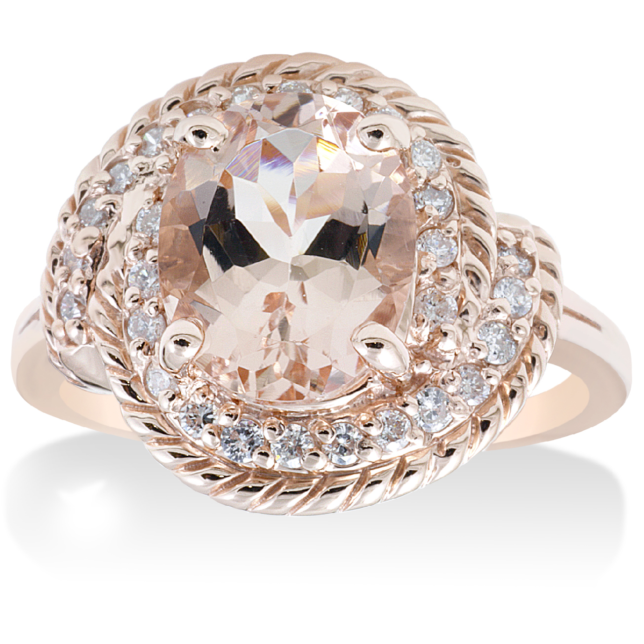 1 3/4ct Morganite Diamond Vintage Halo Engagement Anniversary Ring 14K Rose Gold