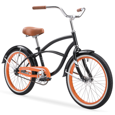Firmstrong Special Edition Urban Boy Cruiser Bike, 20 Inches, Single-Speed, Black with Orange