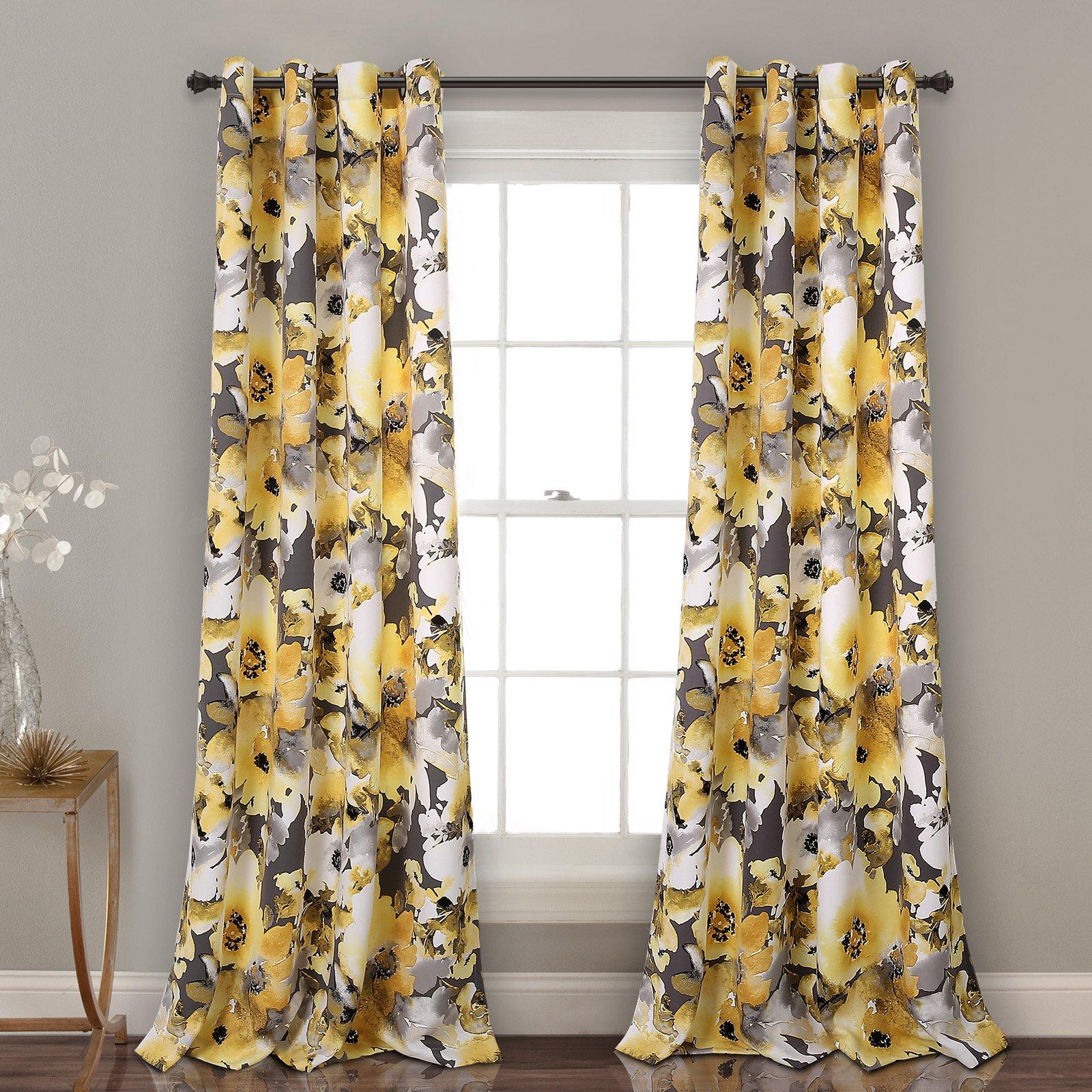 Floral Watercolor Room Darkening Window Curtain Panels Yellow/Gray Set 52x84