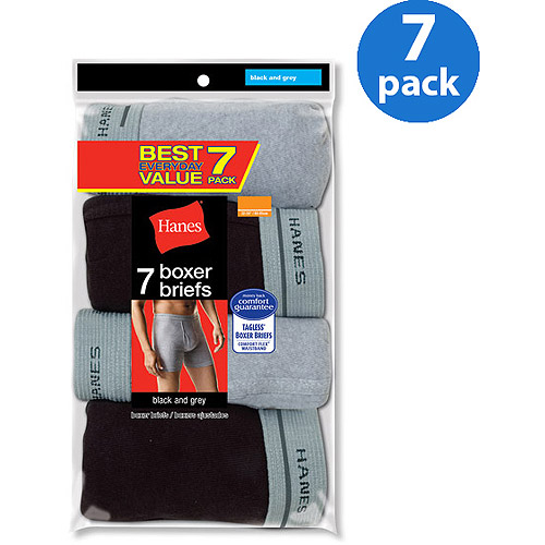 Hanes Men's Value 7 Pack Black Gray Boxer Brief