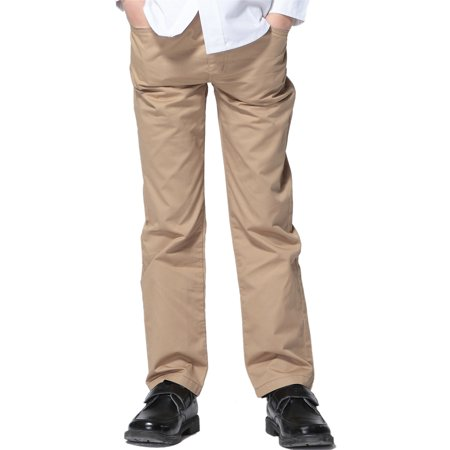 Leo&Lily Boys Kids 100% Cotton Twill Elastic Waist Regular Fit Pants Trousers (Khaki,10) LLB451