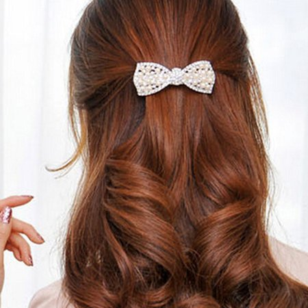 Pearl And Diamond Bow Hair Accessories F192- Gold - image 2 of 7
