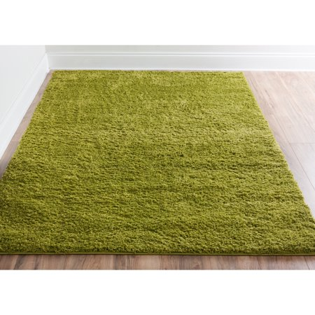 Well Woven  Plain Solid Shag Green Area Rug - 3'3