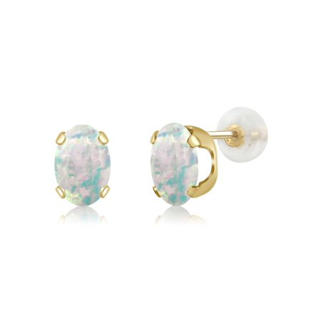 14k 7x5mm Oval Mount (14K Yellow Gold 1.26 Ct Oval Cabochon 7x5mm White Simulated Opal Stud Earrings )