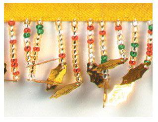 15 yd Expo International Holly Leaf Beaded Fringe Trim Gold