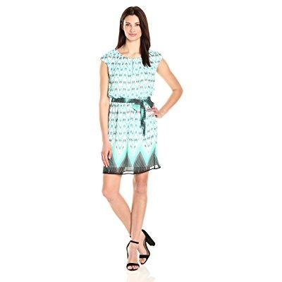 Robbie Bee women's boarder print chiffon blouson dress wi...
