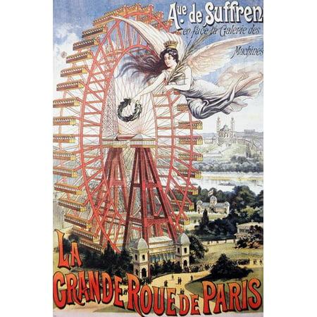 Paris Ferris Wheel (Affiche Grande Roue Paris Vintage Poster Ferris Wheel Colorful New 24X36 )