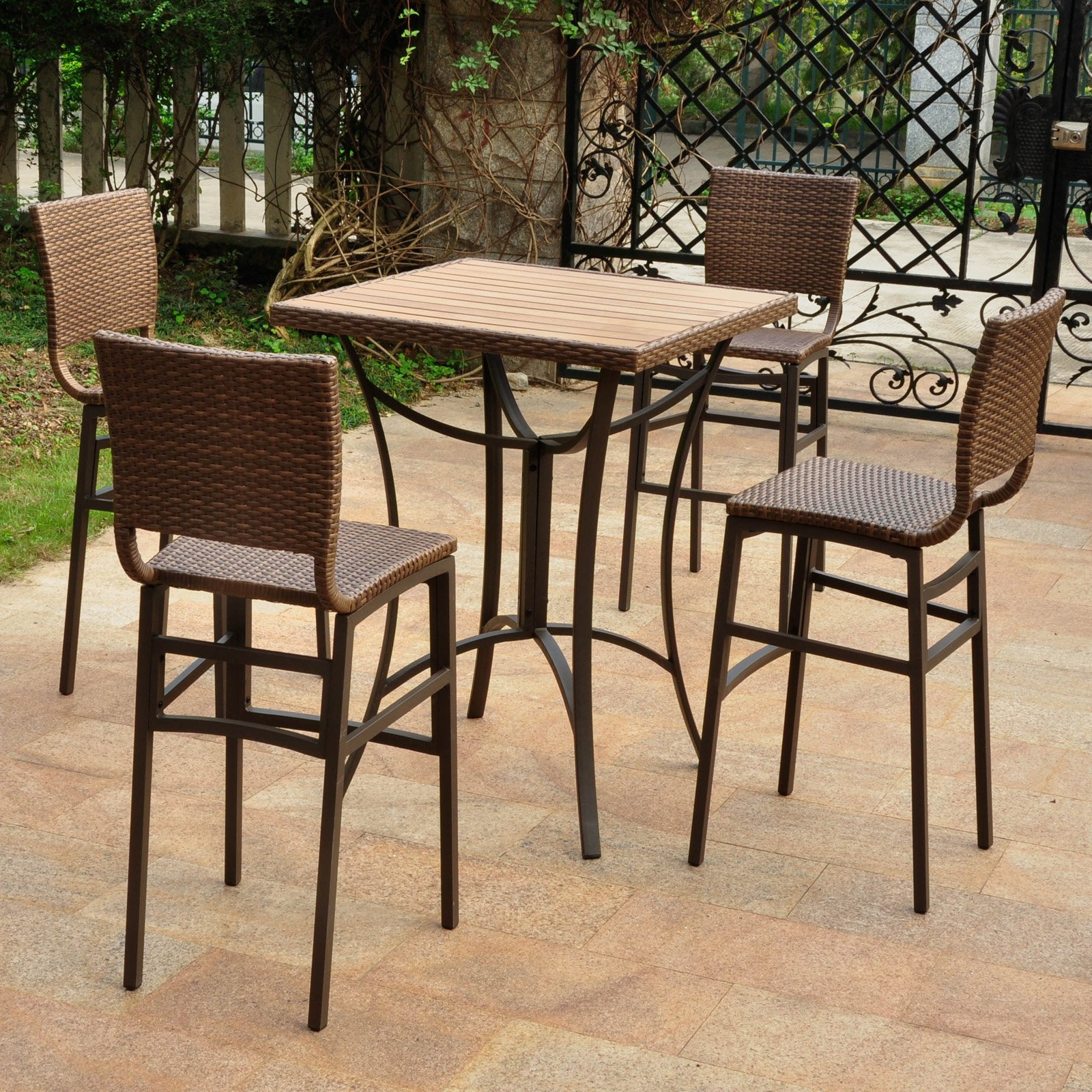International Caravan Barcelona Resin Wicker 5 pc. Bar-Height Patio Dining Set