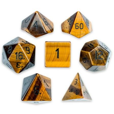 Set of 7 Handmade Stone Polyhedral Dice, Tiger's Eye ()