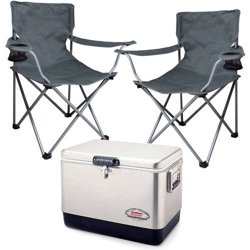 Coleman 54-Quart Steel Cooler & 2 Folding Chairs Value Bundle