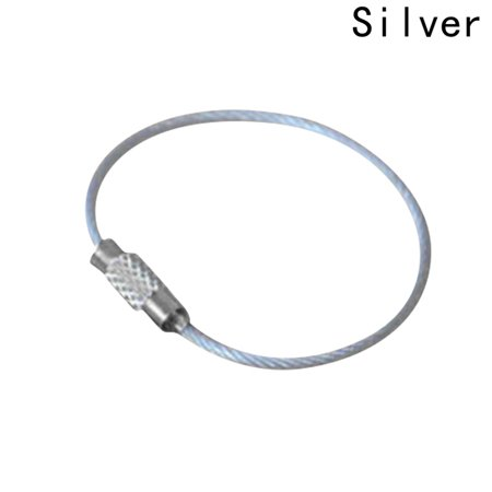 AkoaDa 10Pcs Screw Locking Stainless Steel Wire Keychain Cable Rope Key Holder Keyring Key Chain Rings Cable Outdoor Hiking Keychains Lock Key Tag