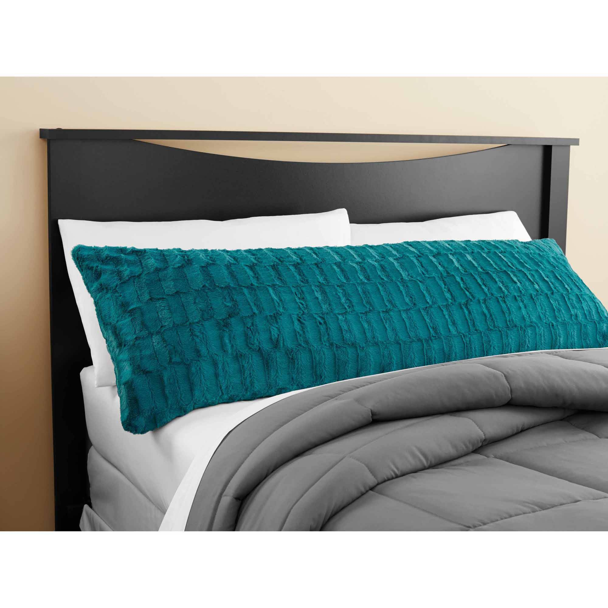 Mainstays Teal Sachet Bamboo Fur Body Pillow Cover