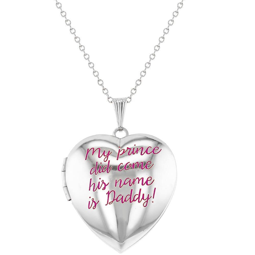 "Silver Tone Love Amor Hearts Pendant Heart Locket Necklace Girls Kids 16/"""
