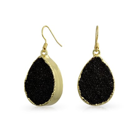 Boho Fashion Pear Teardrop Gemstone Organic Druzy Dangle Earrings For Women For Teen 14k Gold Plated Metal More Colors