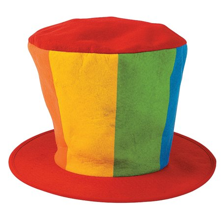 Felt Oversized Clown Top Hat Circus Rainbow Jumbo Cap Costume Accessory