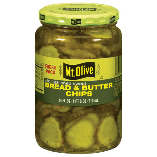 Mt. Olive Bread And Butter Chips Old Fashioned Sweet Pickles, 24 fl oz