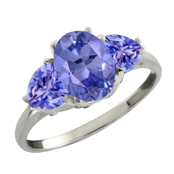 1.96 Ct Genuine Oval Blue Tanzanite Gemstone Sterling Silver Ring by