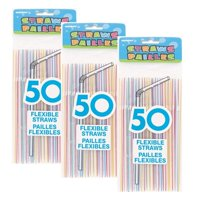 Unique Flexible Striped Plastic Straws, Assorted 150 Ct (3 Packs of 50)