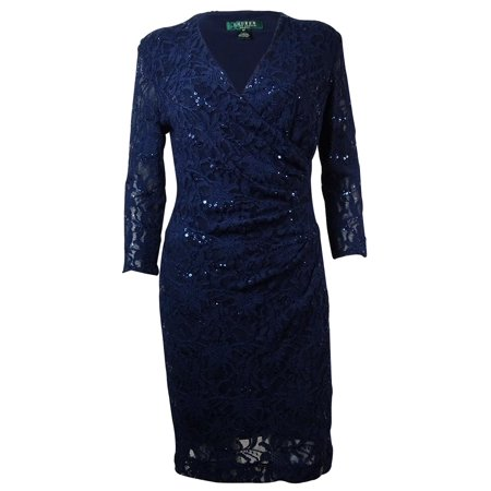 Lauren Ralph Lauren Womens Ruched Sequin Lace Dress