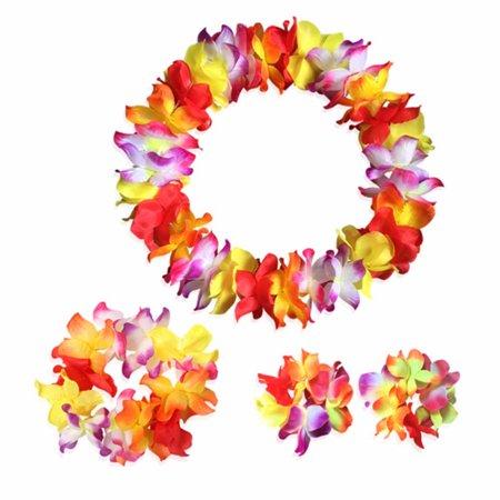 4pcs Hawaii Flower Garland Necklace Headband Headpiece Bracelet Bangle Set for Festival Luau Beach Party