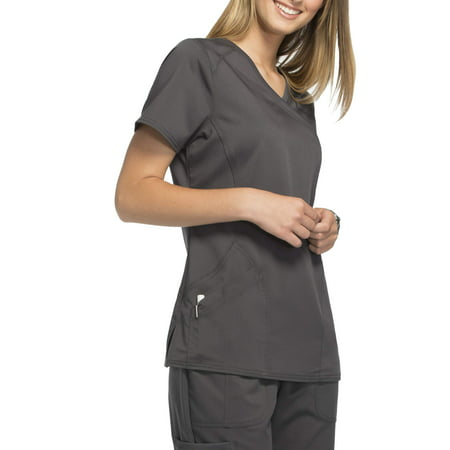 Scrubstar Women's Premium Rayon Mock Wrap Scrub Top Black Print Scrub Top