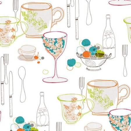 York Wallcoverings Bistro 750 Graphic Tableware Wallpaper