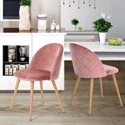 FurnitureR Modern Side Chairs Set of 2, Velvet Fabric Dining Chair Multiple Colors