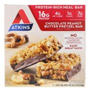 Atkins Chocolate Peanut Butter Pretzel Bar, 5 Bars, 1.69 oz (48 g), 5 Count