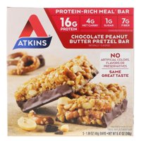 Atkins Chocolate Peanut Butter Pretzel Bar, 5 Bars, 1.69 oz (48 g), 5 Count