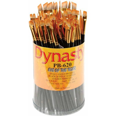Dynasty PB-620 Eye of the Tiger Synthetic Hair Acrylic Handle Paint Brush Set, Assorted Size, Black, Set of - Black Hair Paint