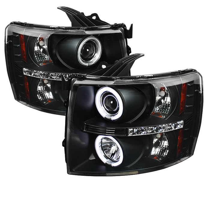 Spyder Chevy Silverado 1500 07-13 2500HD/3500HD 07-14 Projector Headlights - CCFL Halo - LED ( Replaceable LEDs ) - Black - High H1 (Included) - Low