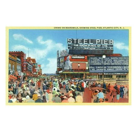 Atlantic City, New Jersey - Steel Pier View from Boardwalk Print Wall Art By Lantern Press