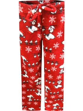 Peanuts Women's Peanuts Snoopy Christmas Red Plush Lounge Pants