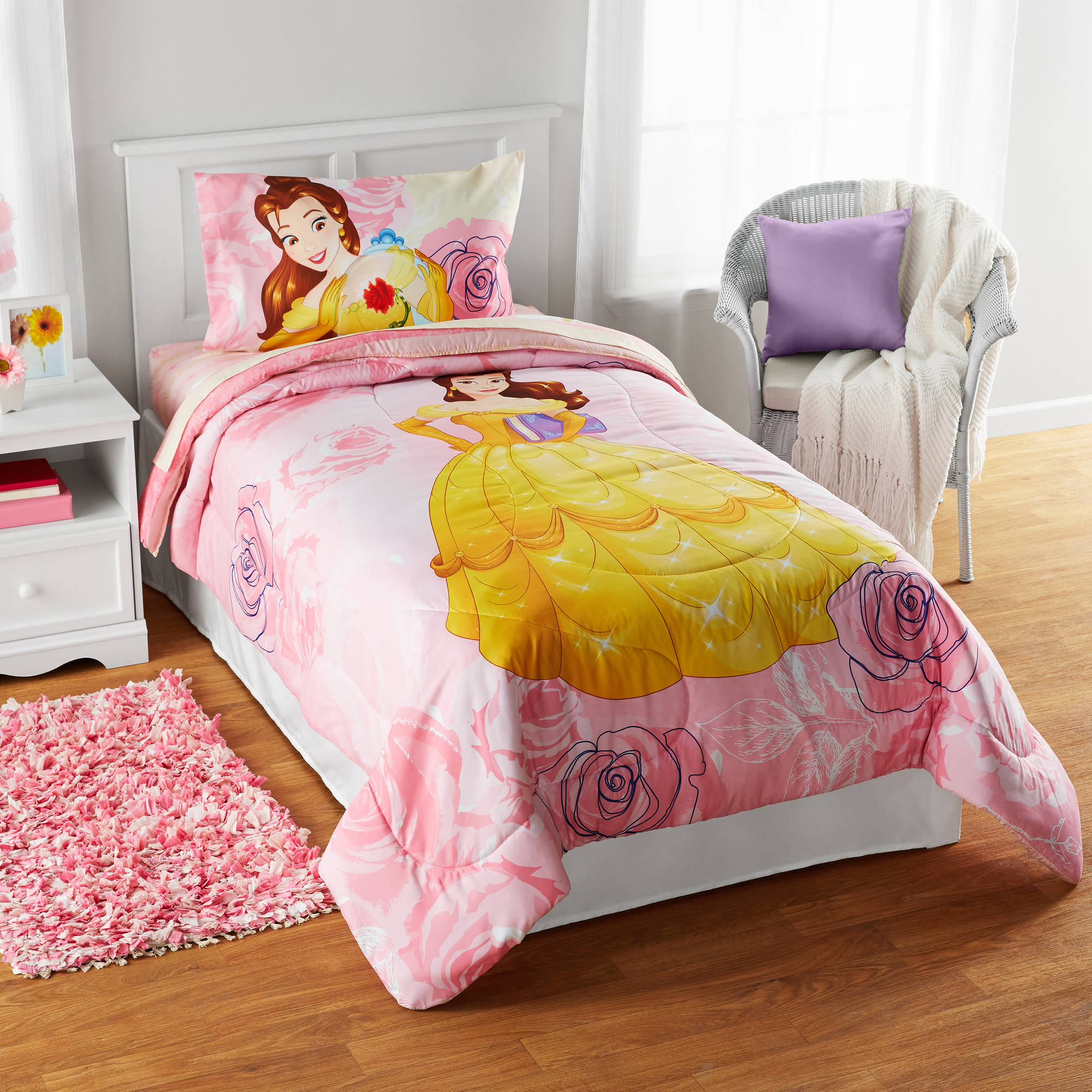 "Disney Belle ""Enchanted Belle"" Reversible Twin/Full Bedding Comforter, Walmart Exclusive"