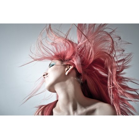 LAMINATED POSTER Young Women Pink Hair Women Modern Hairstyle Poster Print 24 x 36](Pink Ladies Hairstyle)