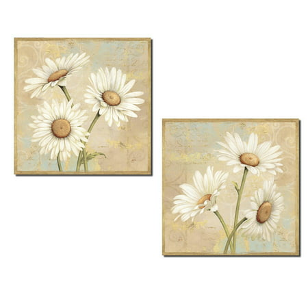 Beautiful Blooming Daisy Flower Set; Floral Decor by Daphne Brissonnet; Two 12x12in Poster Prints