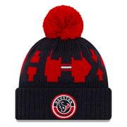 Houston Texans New Era Youth 2020 NFL Sideline Sport Pom Cuffed Knit Hat - Red/Navy - OSFA