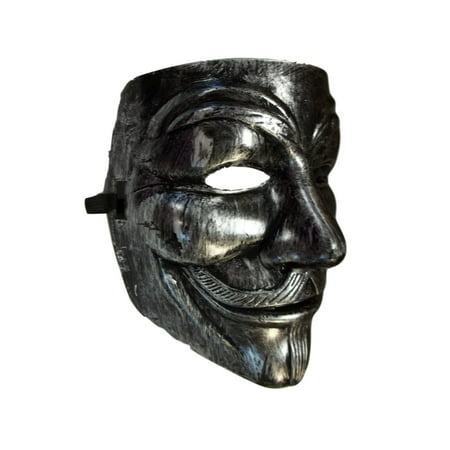 Brushed Silver Guy Fawkes Anonymous V for Vendetta Halloween Costume Mask - V Halloween Mask