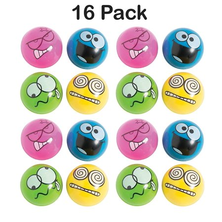 Rubber Emotion Bouncing Balls 1.75 Inches - Pack Of 16  Assorted Colors Cool Silly Face Bounce Balls  For Kids Great Party Favors, Bag Stuffers, Gift, Prize, Piata Fillers - By Kidsco - Cool Sweet 16 Ideas