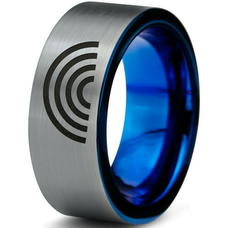 Tungsten Sky Spectrum Rainbow Band Ring 8mm Men Women Comfort Fit Blue Flat Cut Brushed Gray Polished