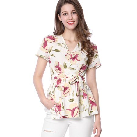 Unique Bargains Women's V-neck Floral Print Self-tie Waist Wrap Peplum Top White (Size XS / 2) - Floral Print Tie Waist Top
