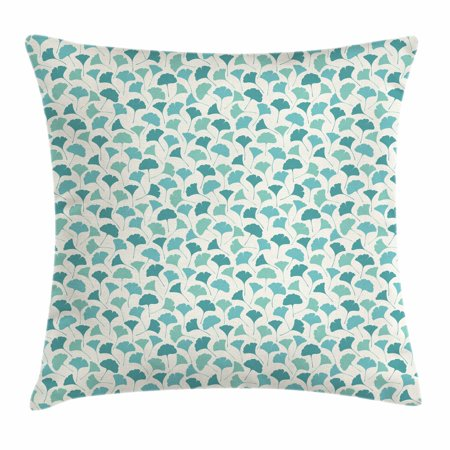 Forest Throw Pillow Cushion Cover, Native Chinese Woodland Leaves from Ginkgo Trees Pastel Silhouettes, Decorative Square Accent Pillow Case, 18 X 18 Inches, Teal Turquoise and Cream, by Ambesonne