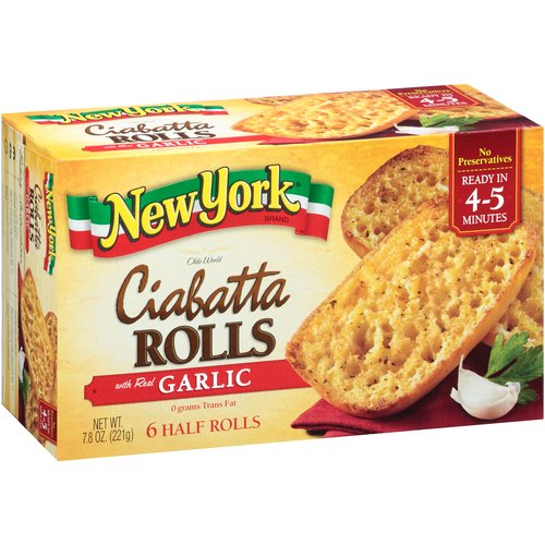 New York Brand Olde World Ciabatta Rolls with Real Garlic, 6 count, 7.8 oz