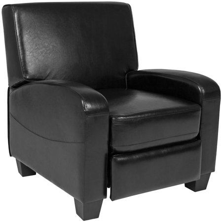 Best Choice Products Padded Upholstery Faux Leather Modern Single Push Back Recliner Chair w/ Padded Armrests for Living Room, Home Theater - Black (Leather Chaise Recliner)