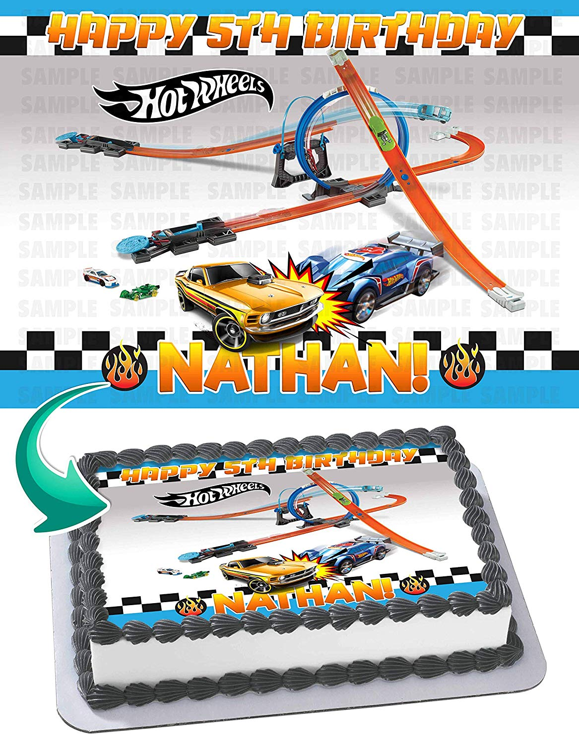 Astonishing Hot Wheels Cars 2 Edible Cake Image Topper Personalized Birthday Birthday Cards Printable Opercafe Filternl
